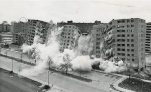 The above image (Pruitt-Igoe in St. Louis MS) was the poster child for failed public housing projects of the 1950s and 60s. It is still the mental image many people have when they hear the phrase affordable housing.