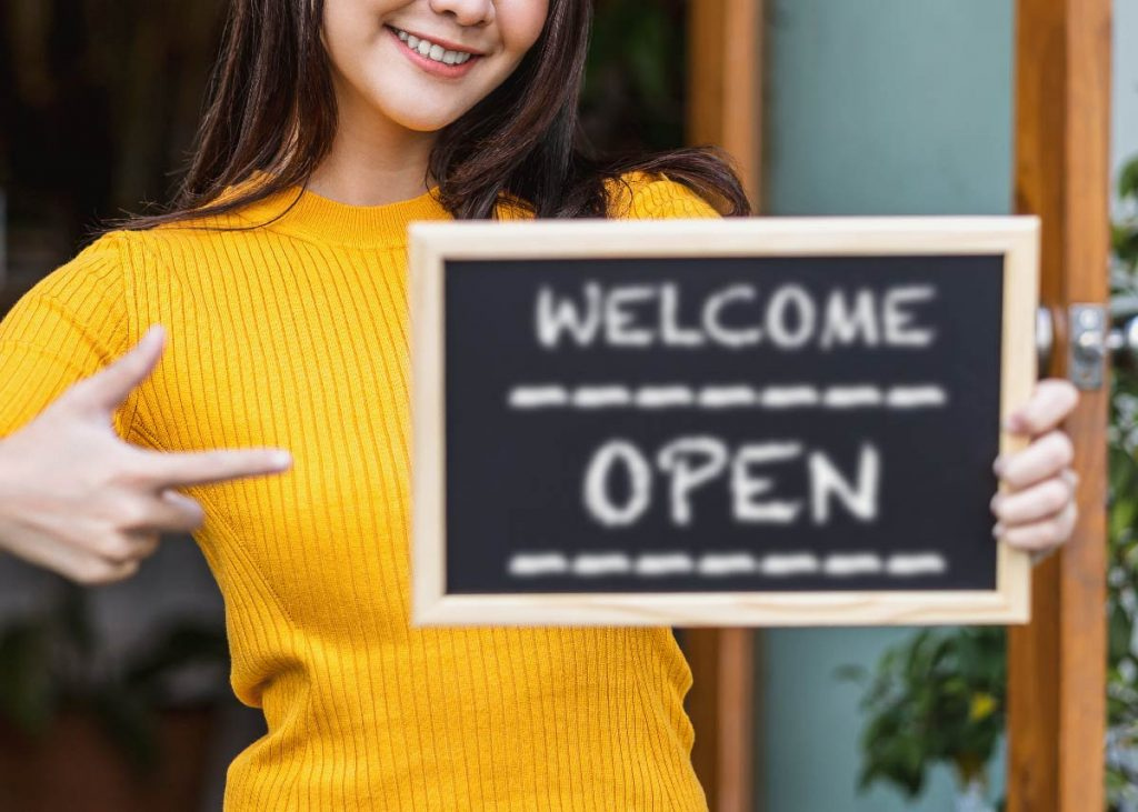 Welcome Open Sign at Small Business