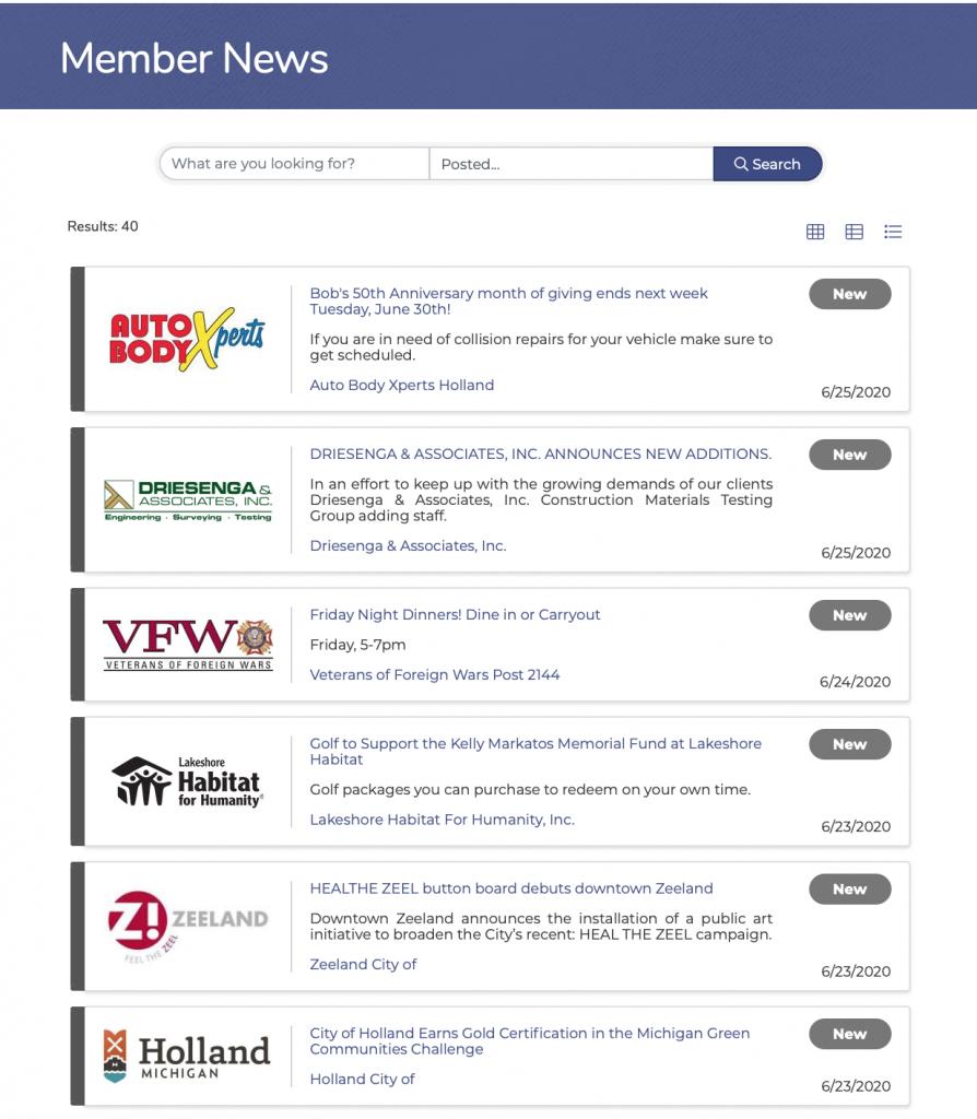 Member News screenshot