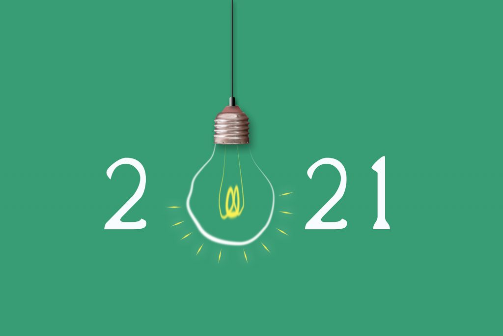 Steer Brand into 2021. Light Bulb On A Green Background.