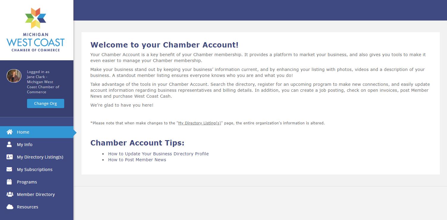 Screenshot of Homepage My Chamber Account