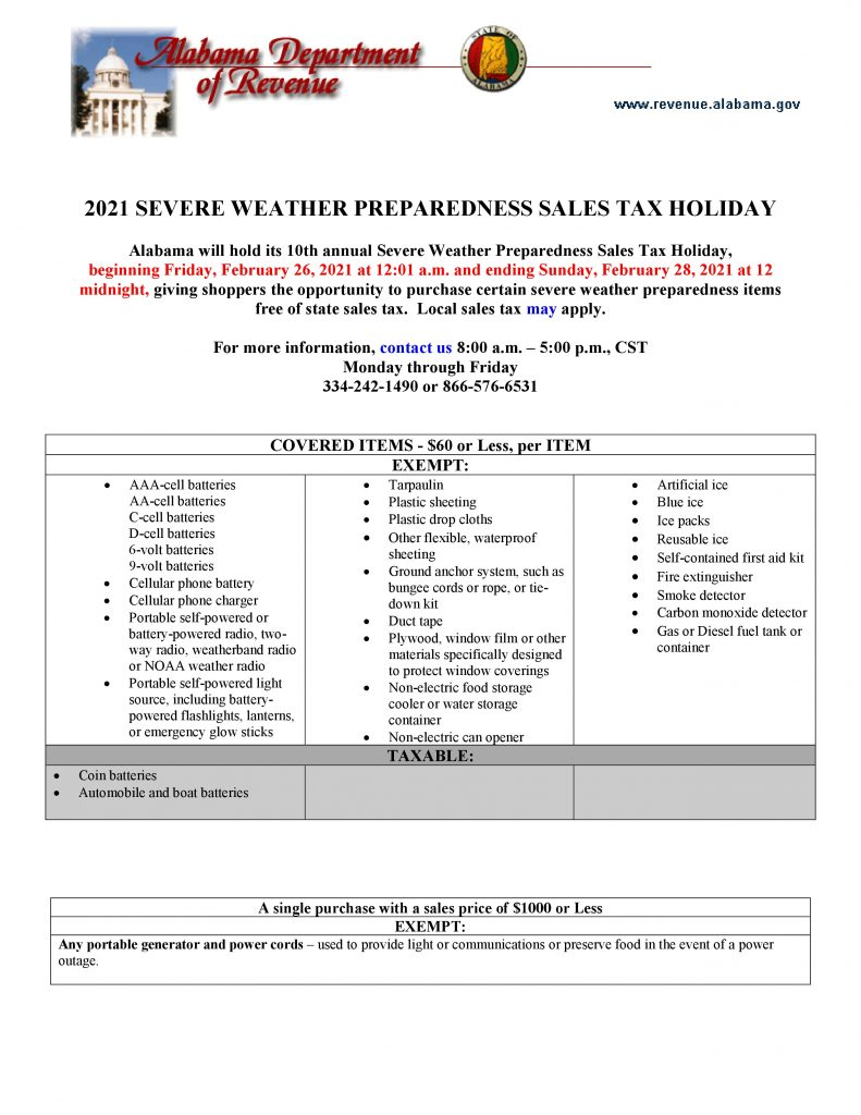 Sales tax holiday information 2021