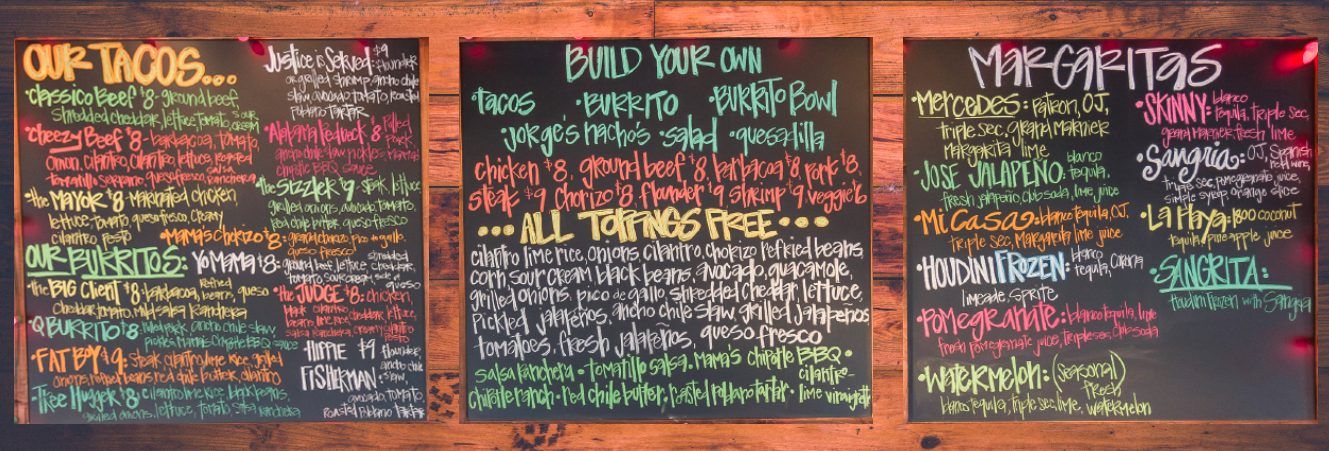taco mama menu board