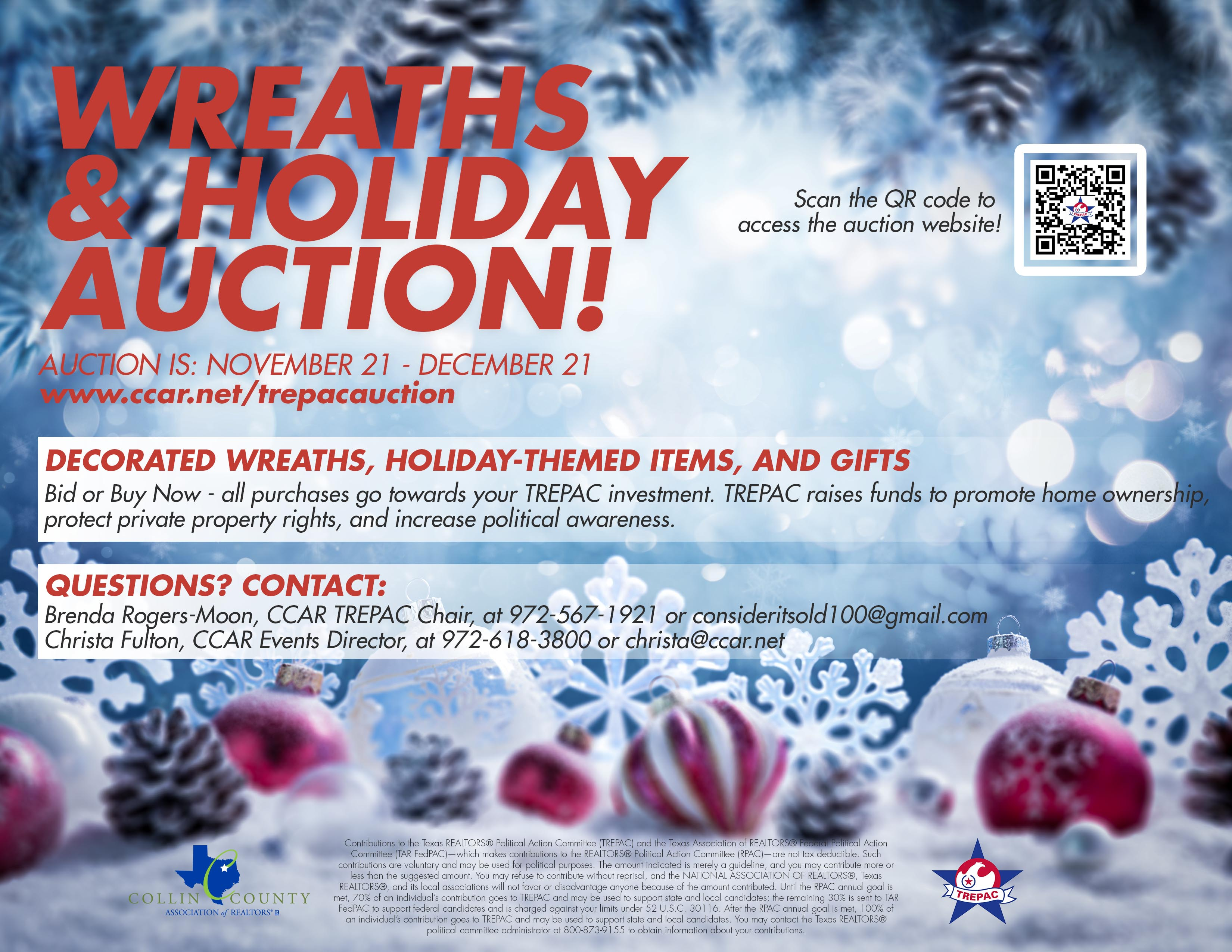 Wreaths & Holiday Auction Event Flyer