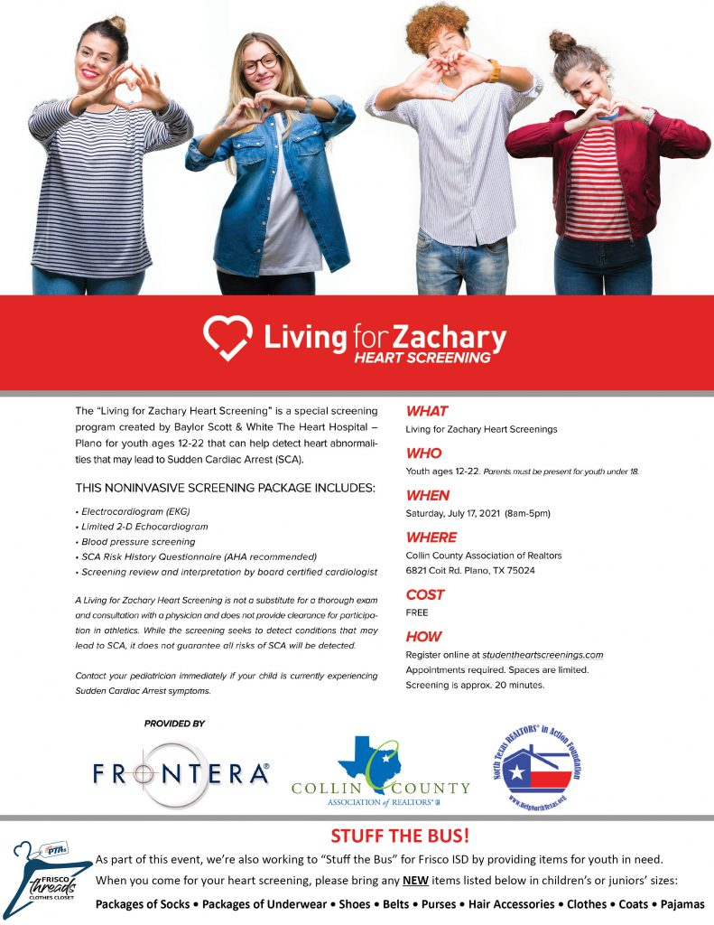 Living for Zachary Heart Screening & Stuff the Bus Flyer
