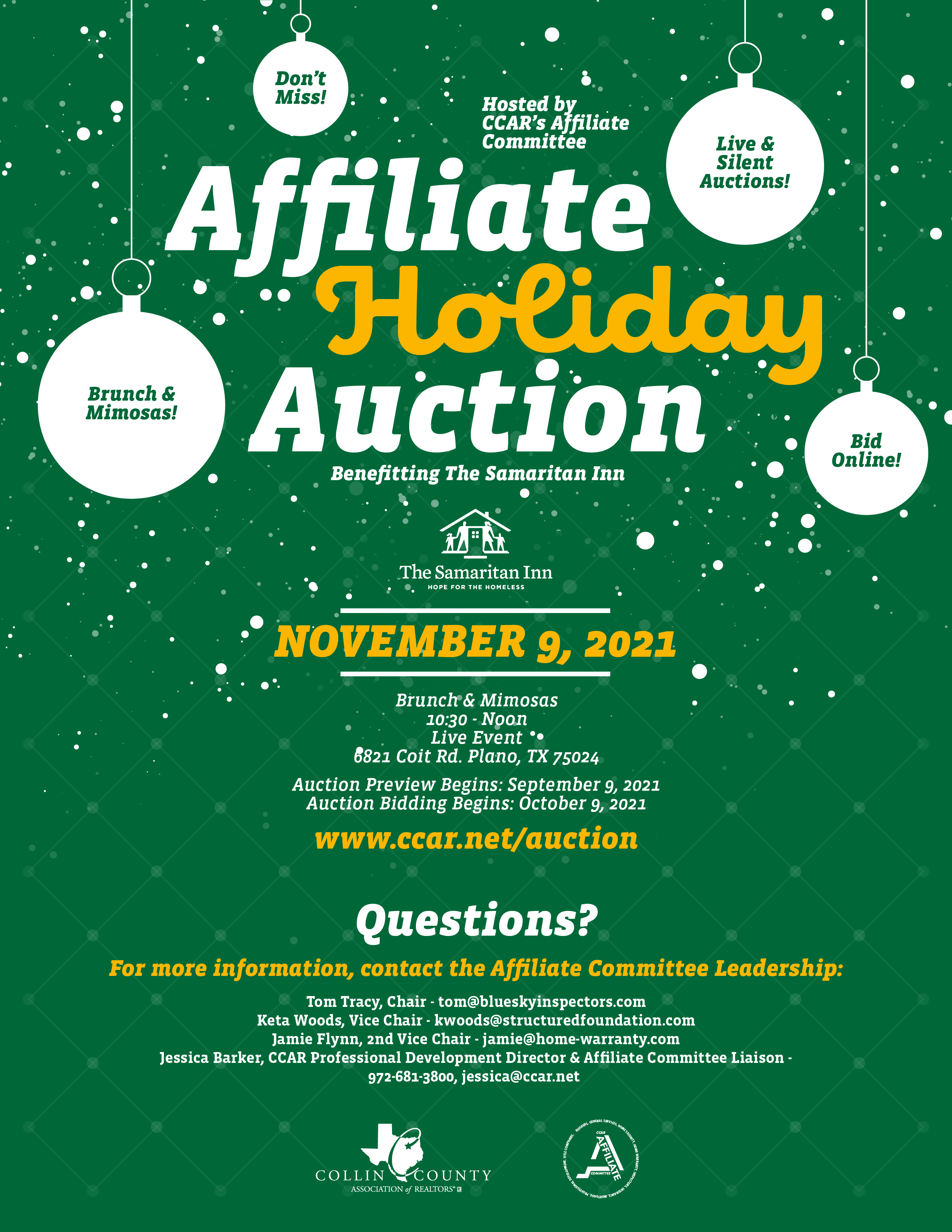 2021 Affiliate Holiday Auction Flyer