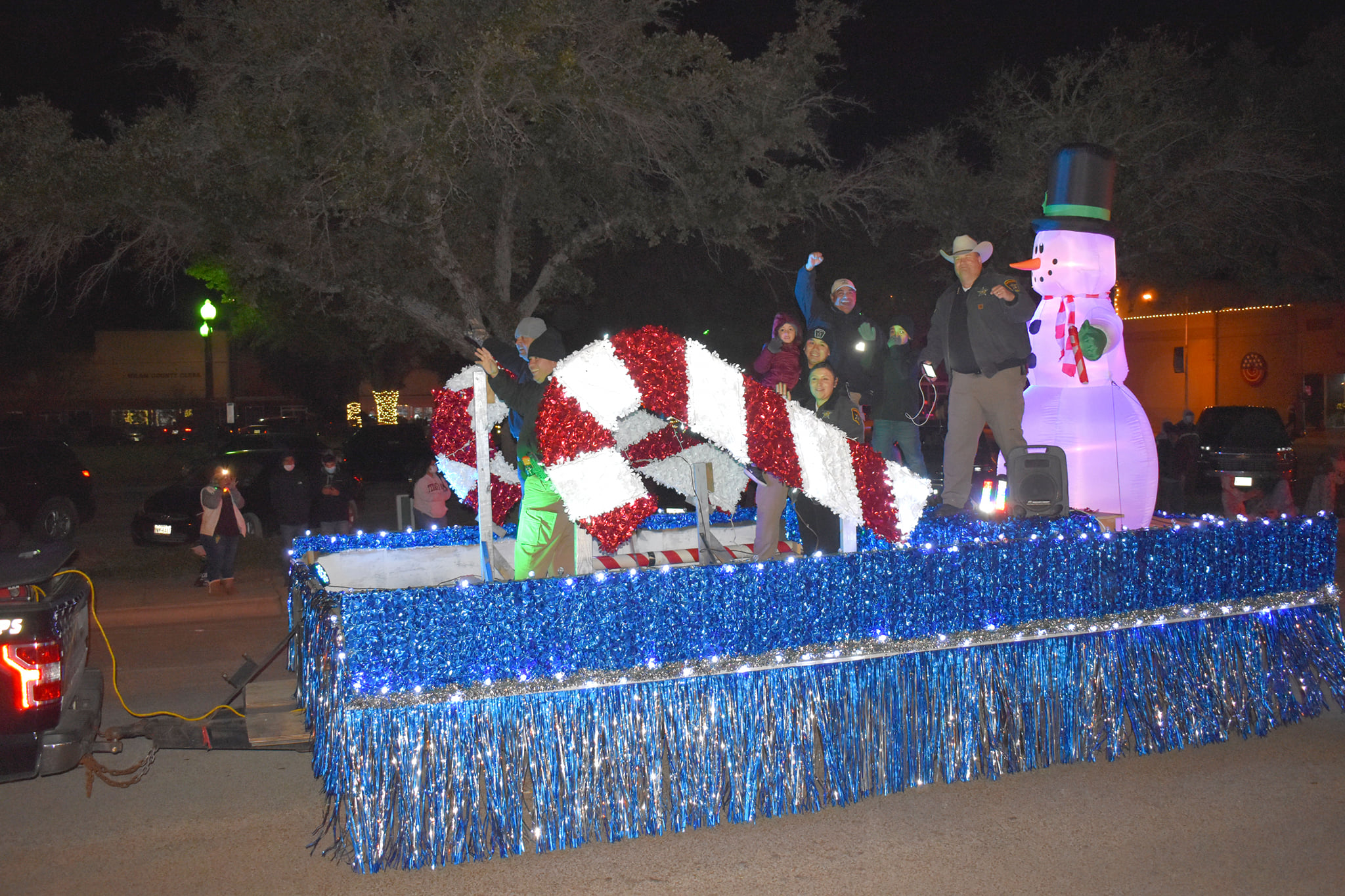 This 2020 Sheriff David Greene's Milam County Brown Santa Float was seen in the 1947 Miracle on 34th Street. If you look closely you can make out the exact details in the scene where John Payne and Natalie Wood sit talking as the Macy's Parade travels by in the background.