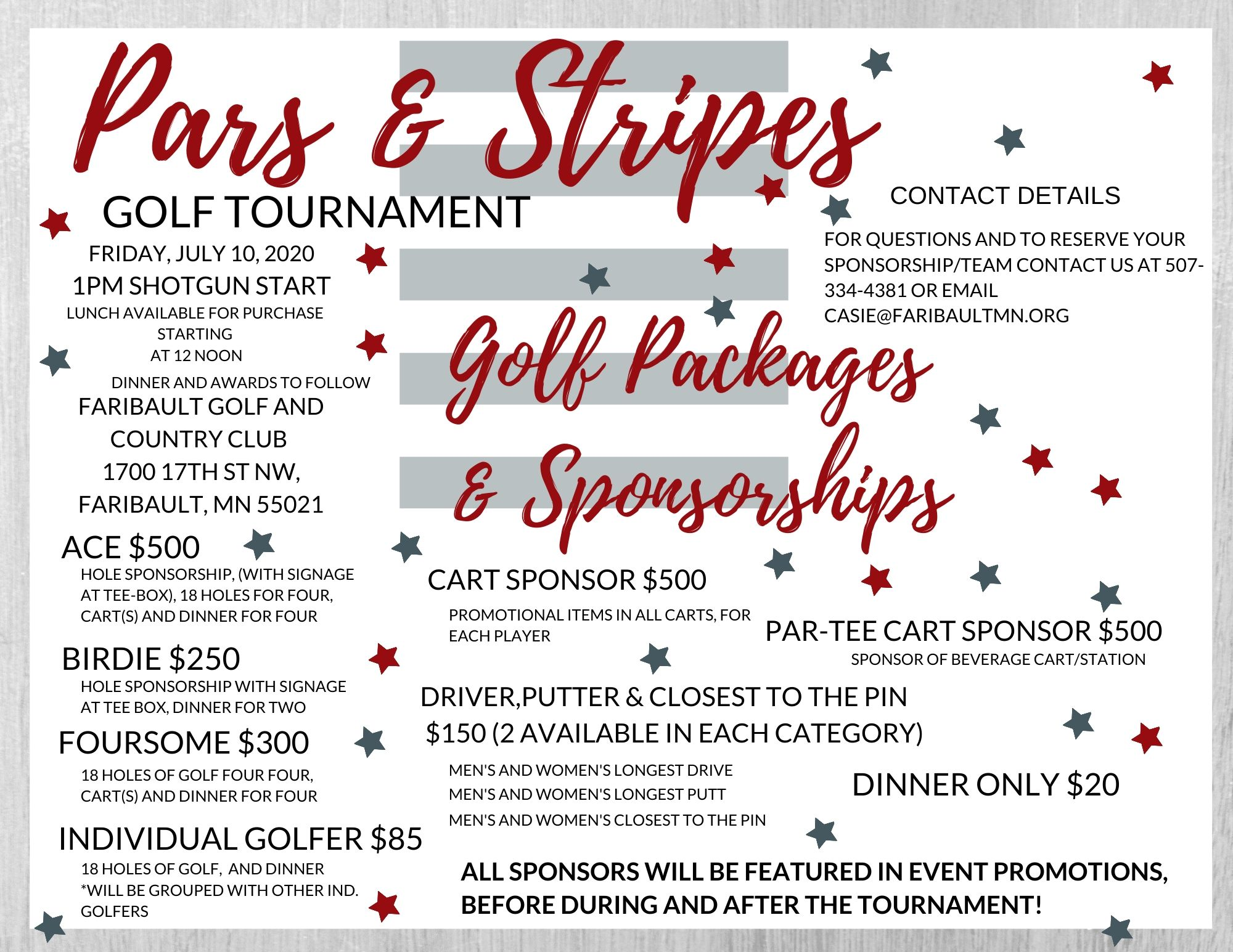 Golf Packages and sponsorship