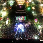 outdoor concert aerial view at night