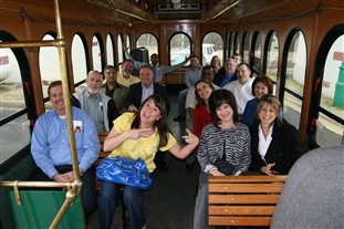 group of people on trolly