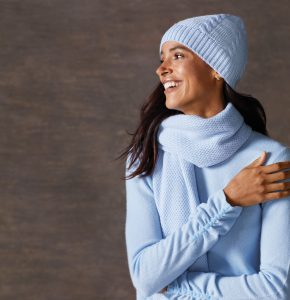 J McLaughlin blue sweater scarf and hate