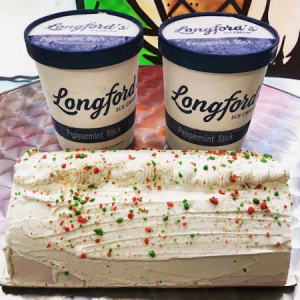 Longfords Ice Cream Cake with red and green decorations