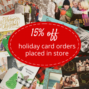 Write On - Westchester pile of cards - 15% off holiday card orders in store