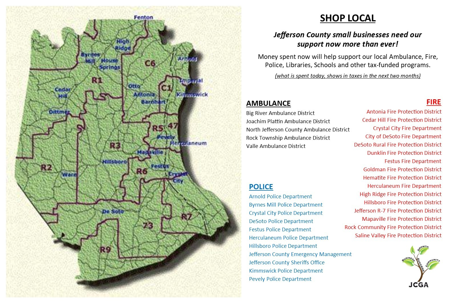 Map of Jeff. County Shop Local with fire police ambulance - for PowerPoint presentation