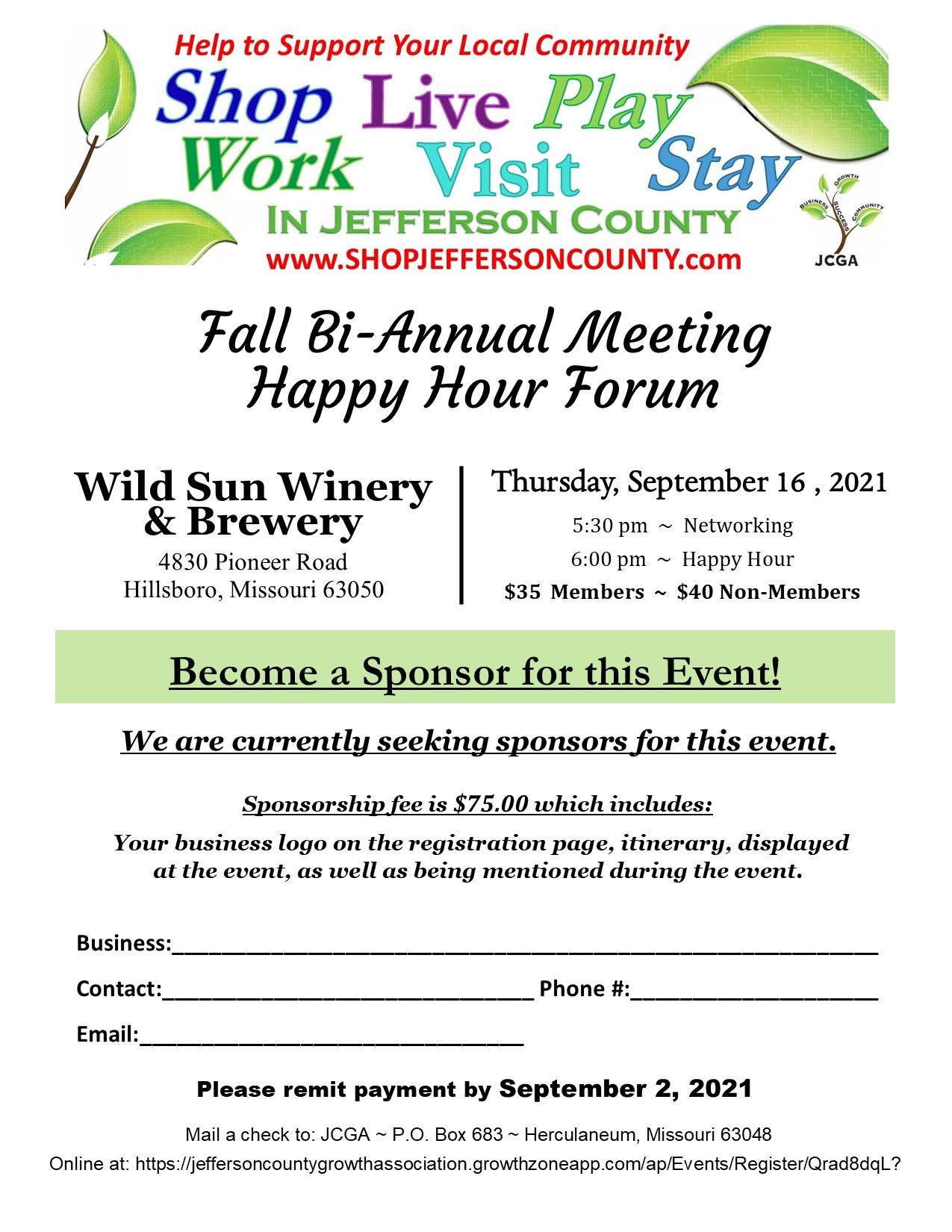 Sponsorship Opportunity - Fall Bi-Annual 2021