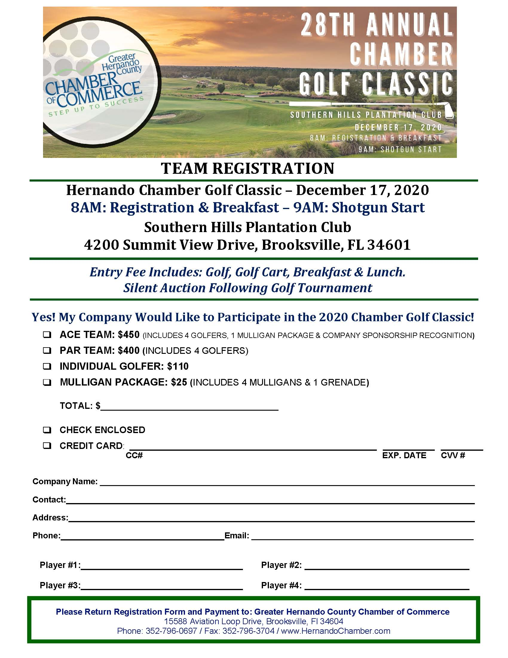 NEW 2020 Chamber Golf Team Registration Form
