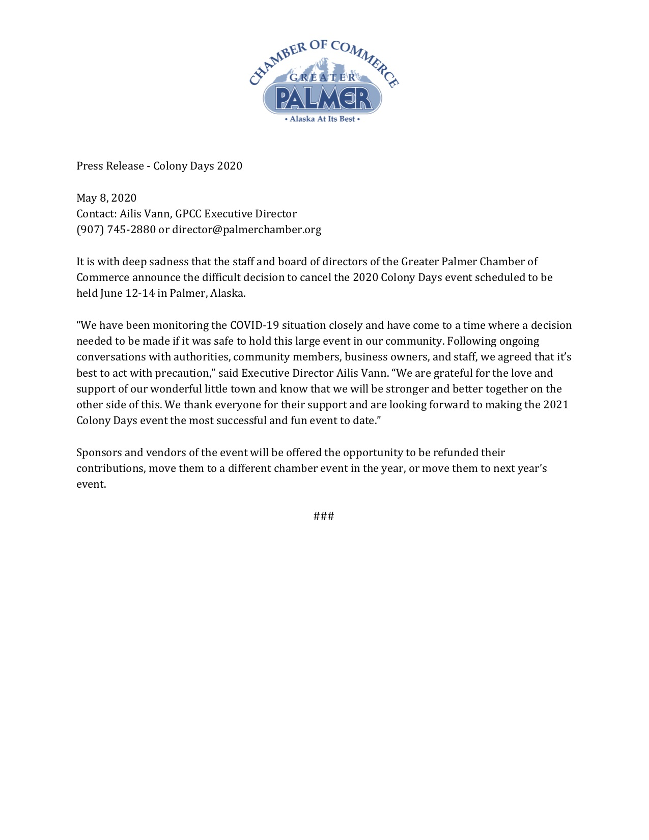 Press Release - Colony Days 2020