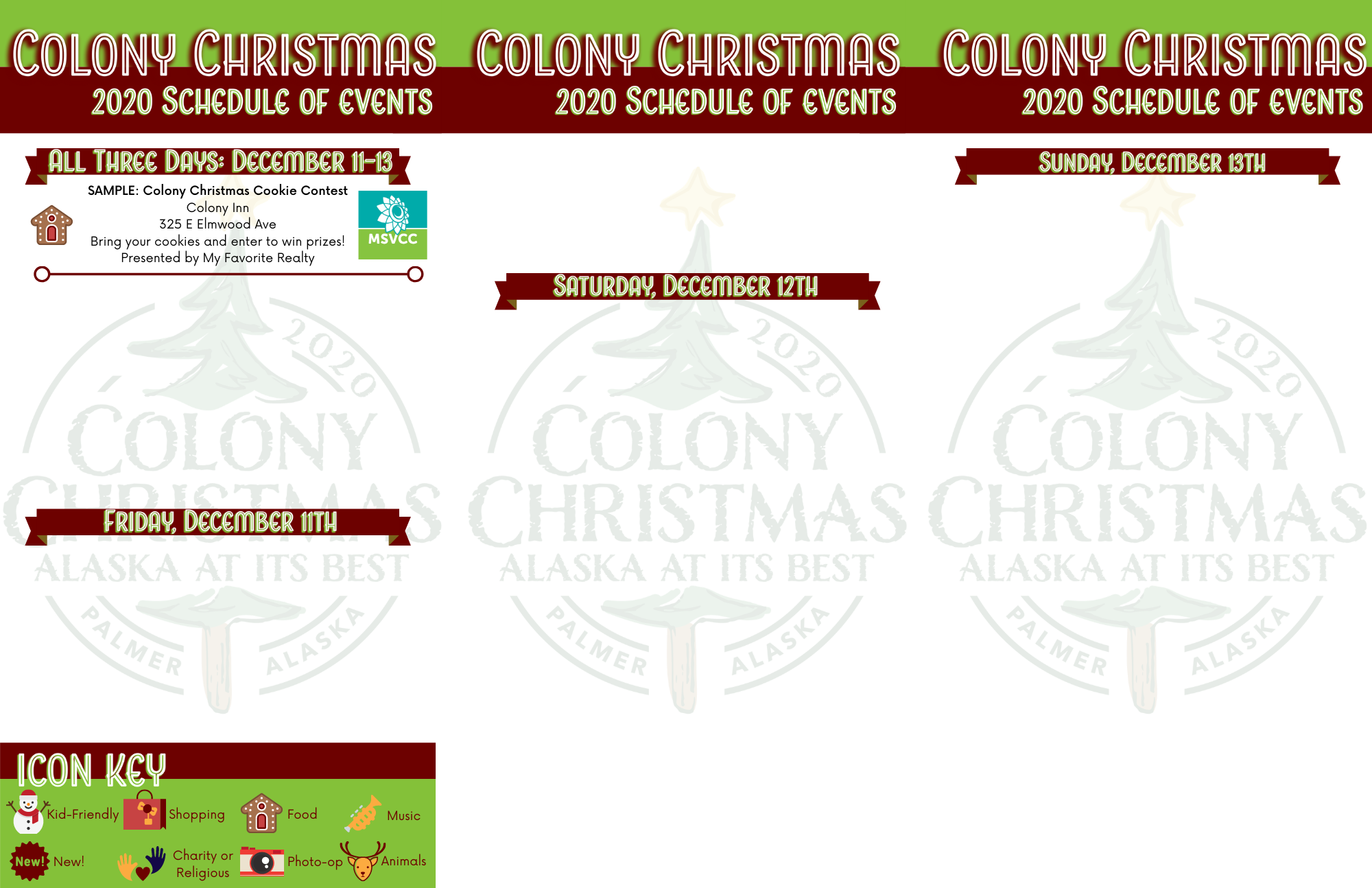 Colony Christmas 2020 Schedule of Events