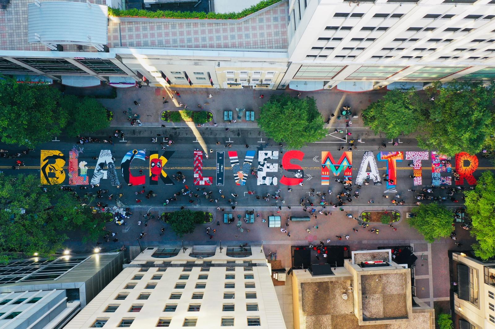 Local Artists Install Black Lives Matter Street Mural In Uptown Charlotte