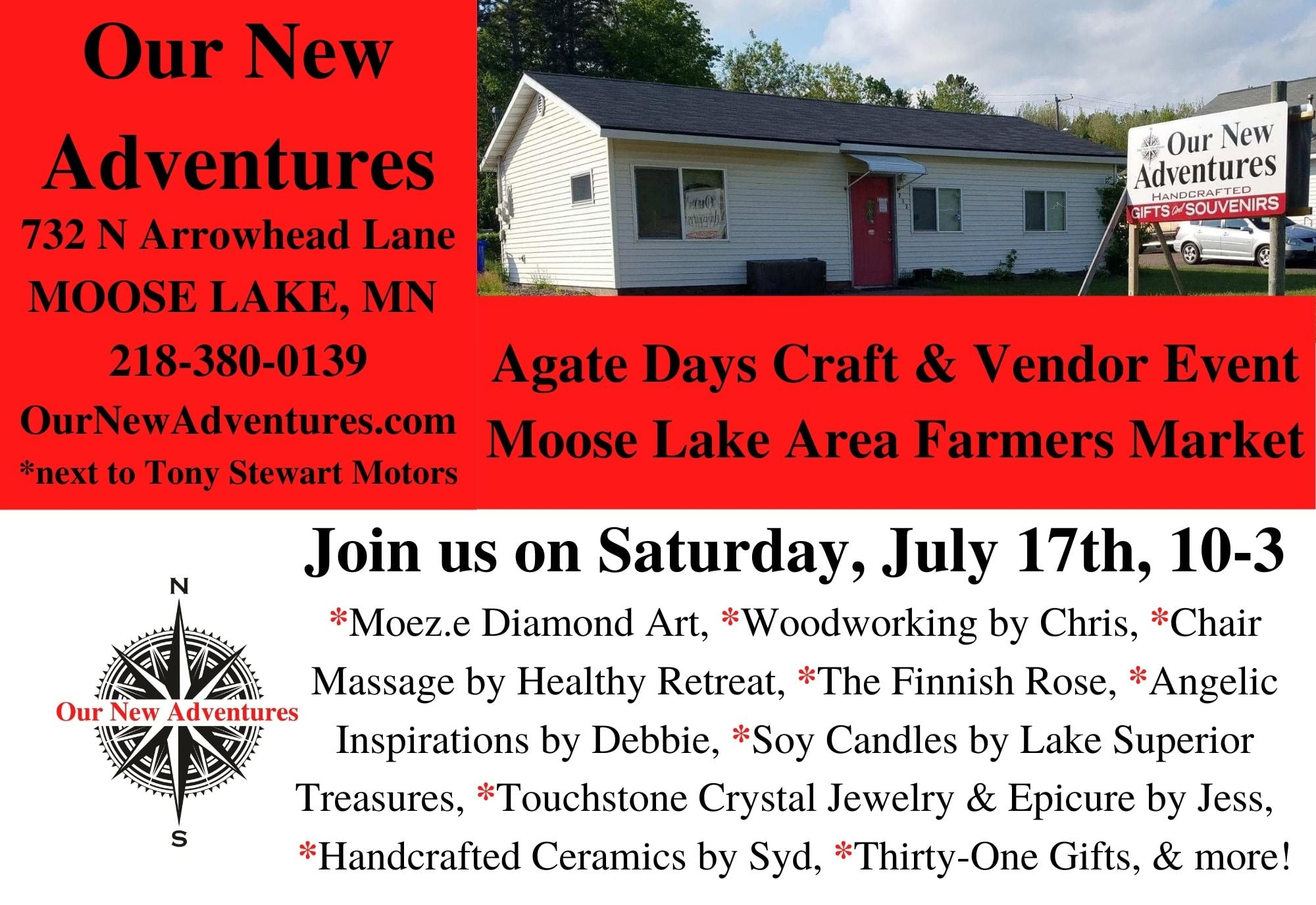 Our New Adventures is hosting the Farmer's Market on Saturday, July 17th and Agate Days Craft and Vendor Event from 10-am-3pm
