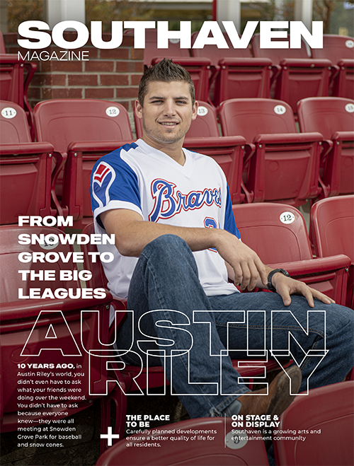 Southaven magazine cover - austin riley baseball player on the cover sitting in bleachers