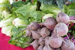 Photos of fresh vegetables being sold at the Galt Farmers Market