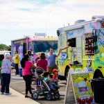Ice cream & food trucks & Eggstravaganza-goers