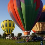 Three hot air balloons at Galt Balloon Festival
