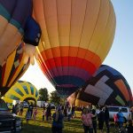 Four hot air balloons at the Galt Balloon Festival