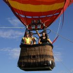People in one of the hot air balloons ready for the ride - Galt Balloon Festival