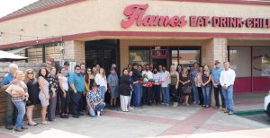 Photo of Flames owners, staff, & attendees of their Grand Opening & Ribbon Cutting on September 2, 2020