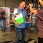 Photo of Dan Gerling, Co-owner of Express Type & Graphics accepting raffle prize at the October 2020 Mixer hosted by Galt Sign