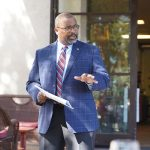 Photo of Galt City Manager, Lorenzo Hines, Jr. speaking at October 2020 Chamber Luncheon