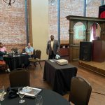 City Mgr Lorenzo Hines, Jr. presenting the Galt Market Communtiy Plan at the luncheon at Brewsters July 15, 2021