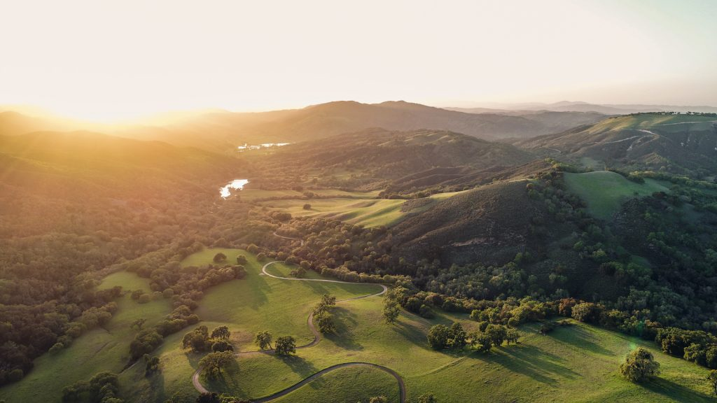 drone shot of Paso Robles sunrise
