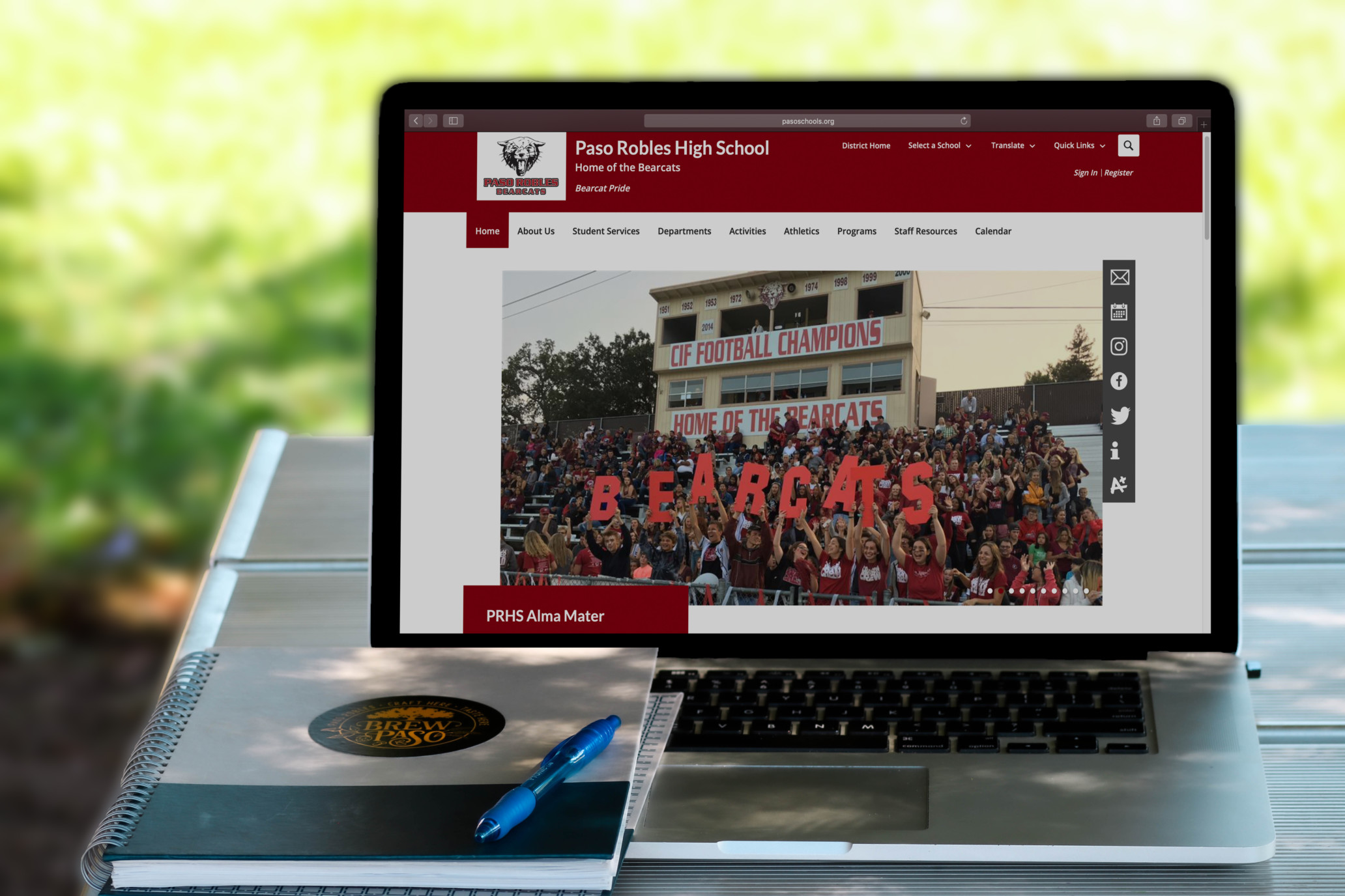 image of Paso Robles highschool website on laptop