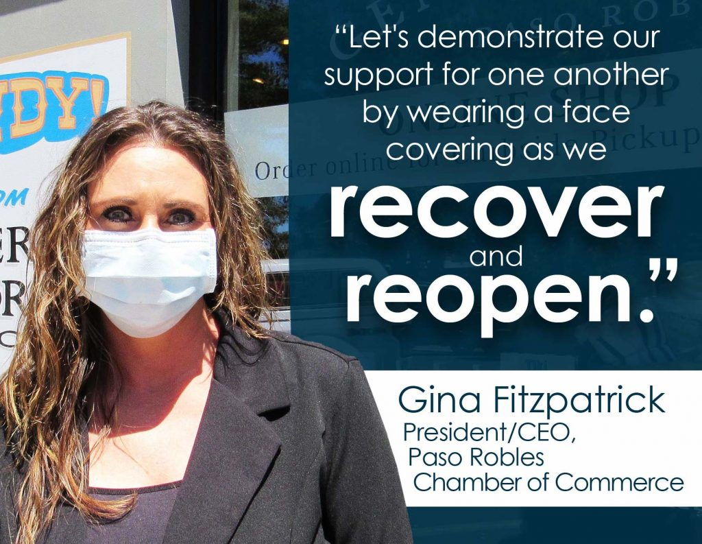 Gina Fitzpatrick wearing face covering