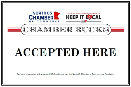 Chamber Bucks Accepted Here sign