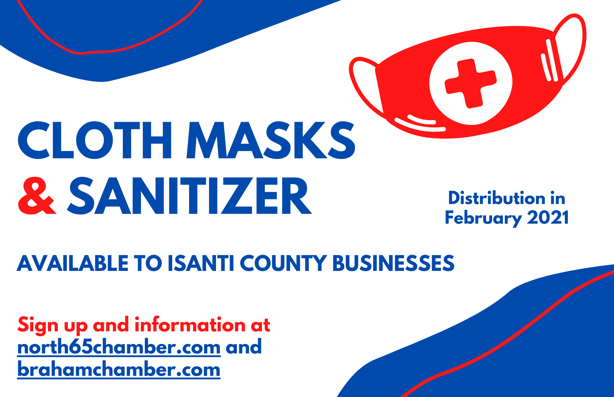cloth masks and sanitizer available to isanti county businesses