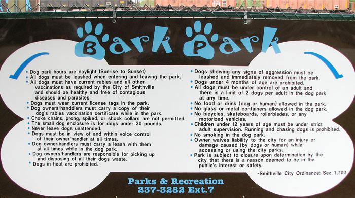 Bark Park Rules