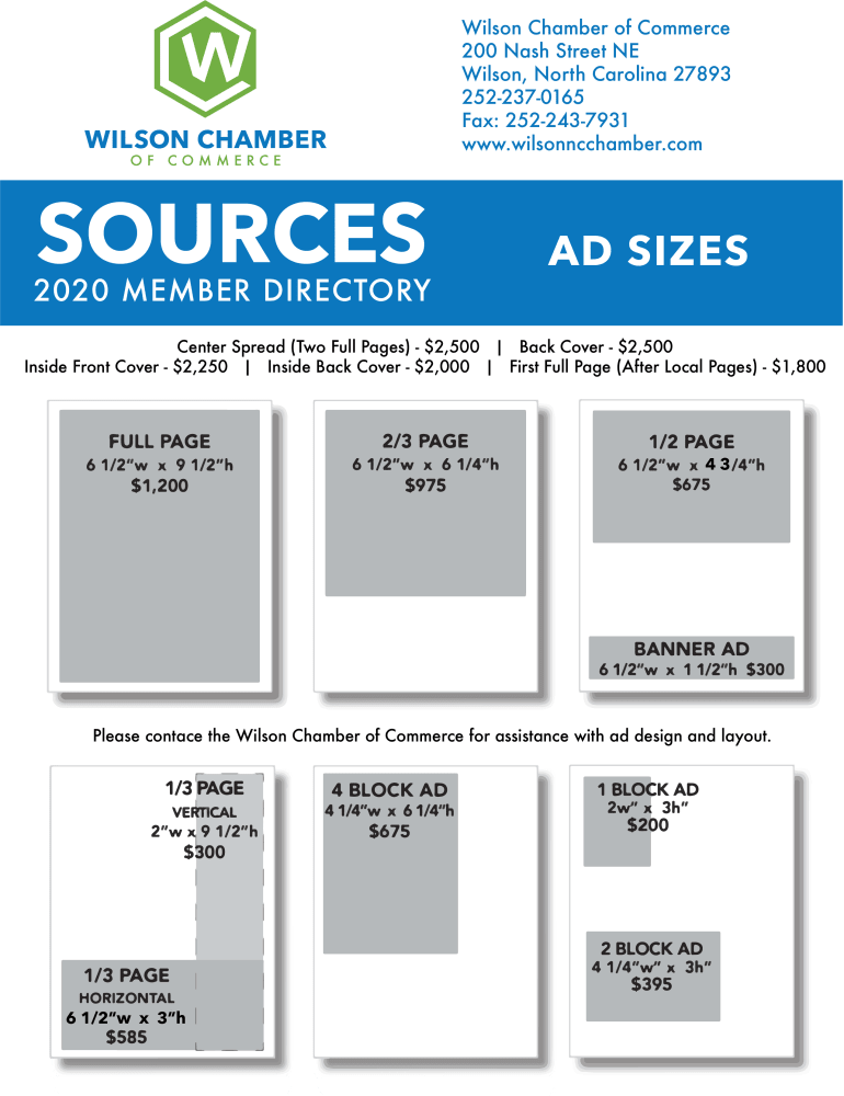 Sources Ad sales sheet