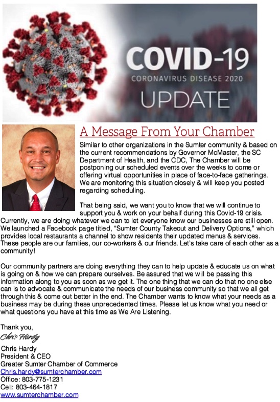 COVID 19 message from the chamber