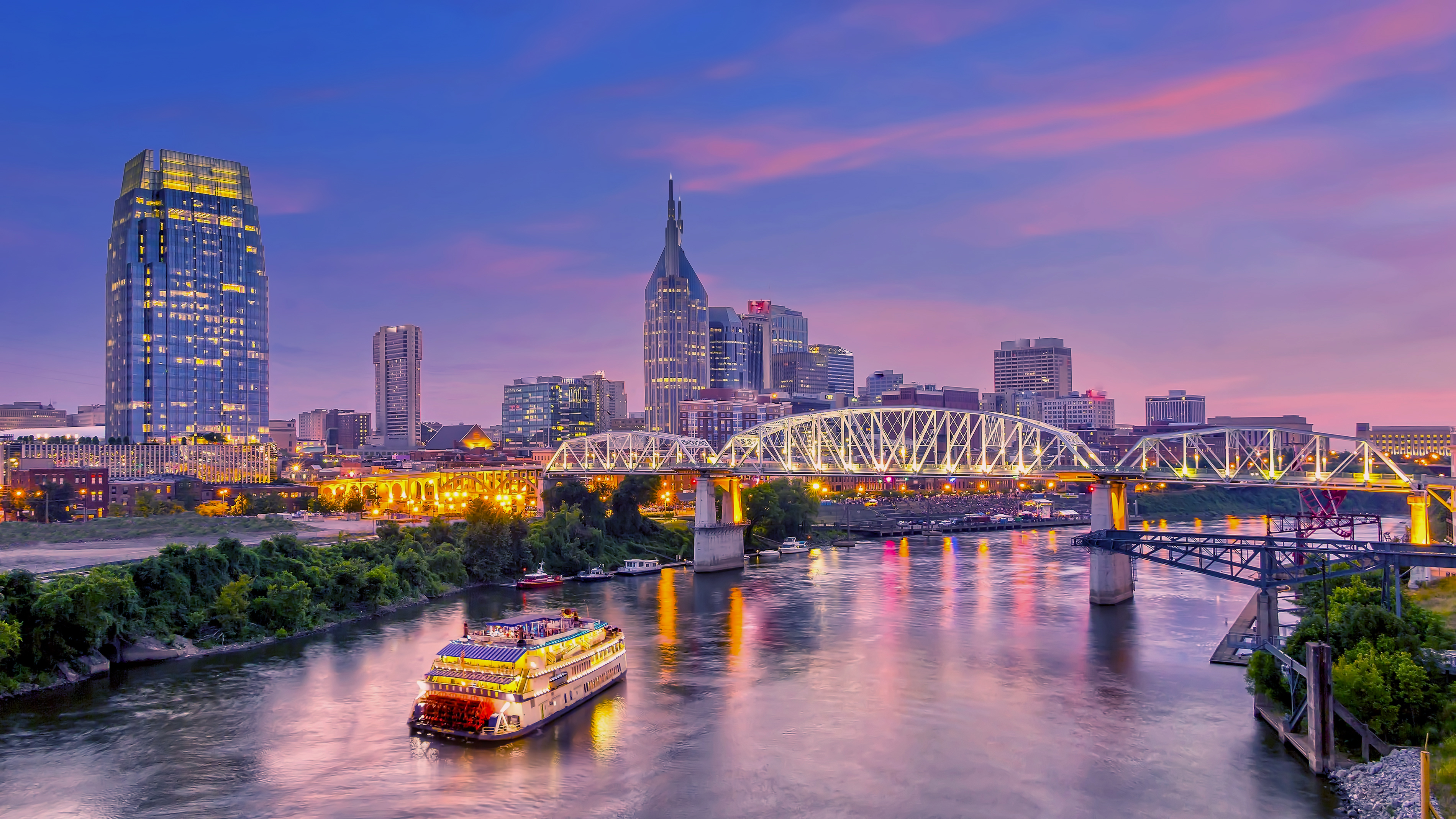 Nashville, Tennessee downtown skyline at twilight; Shutterstock ID 1276559863; Purchase Order: -