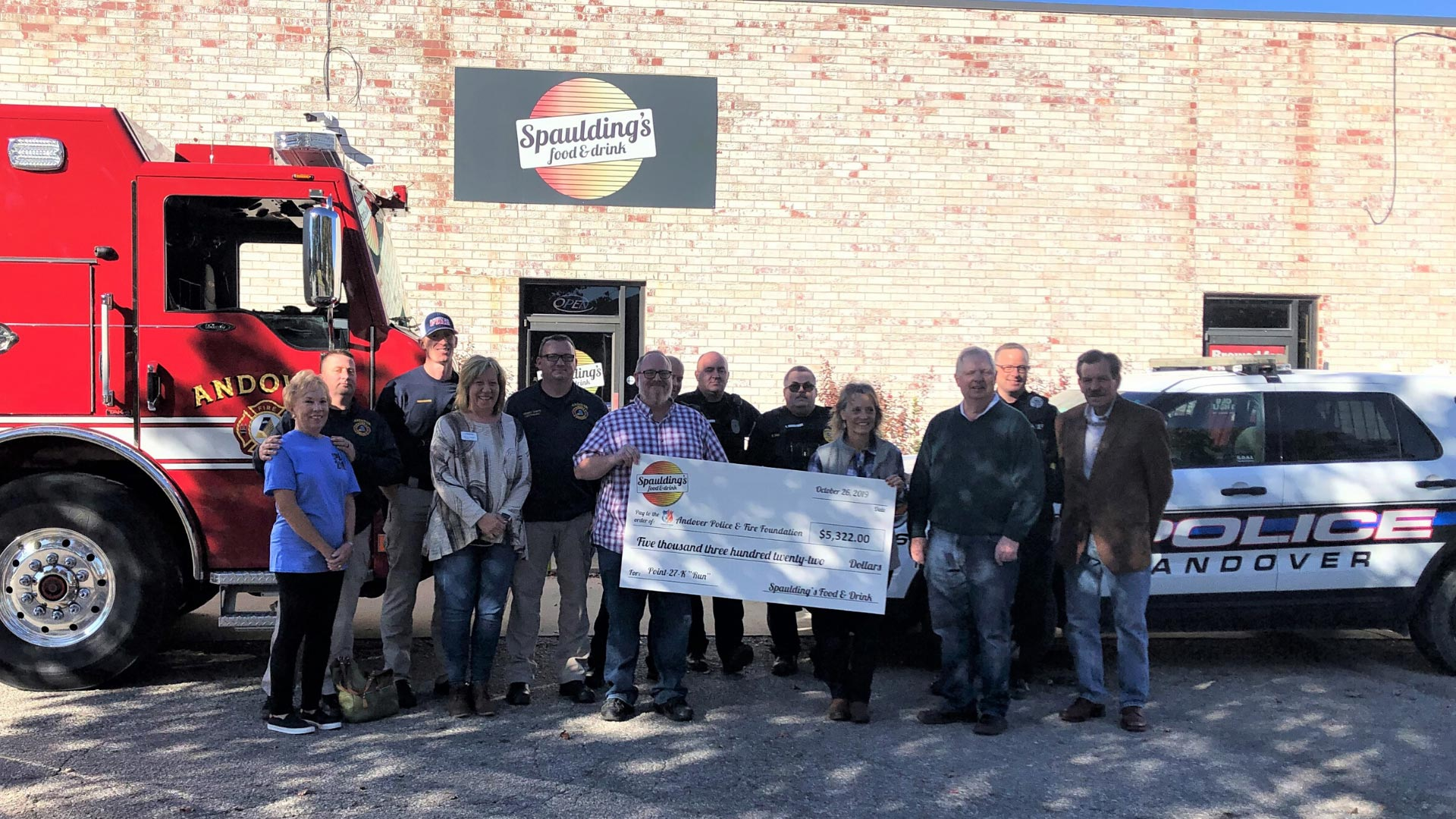 Andover Police & Fire Foundation receives check from Spauldings