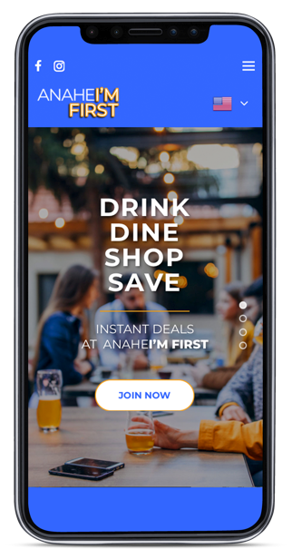 anaheim first - dine drink shop mobile phone for website