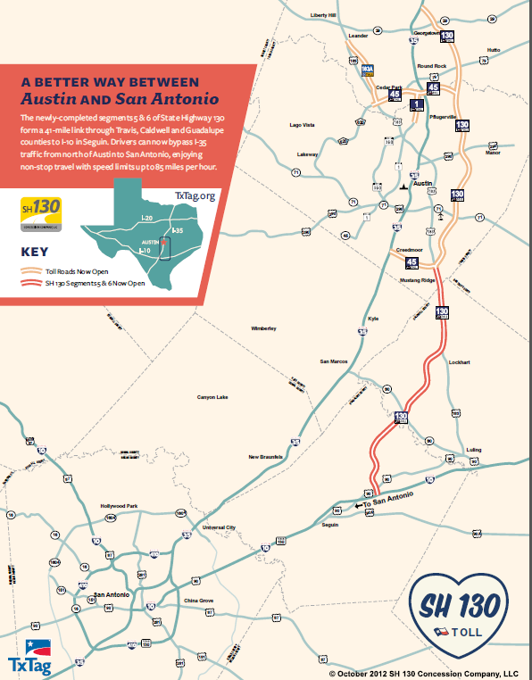 To Lockhart from Austin map