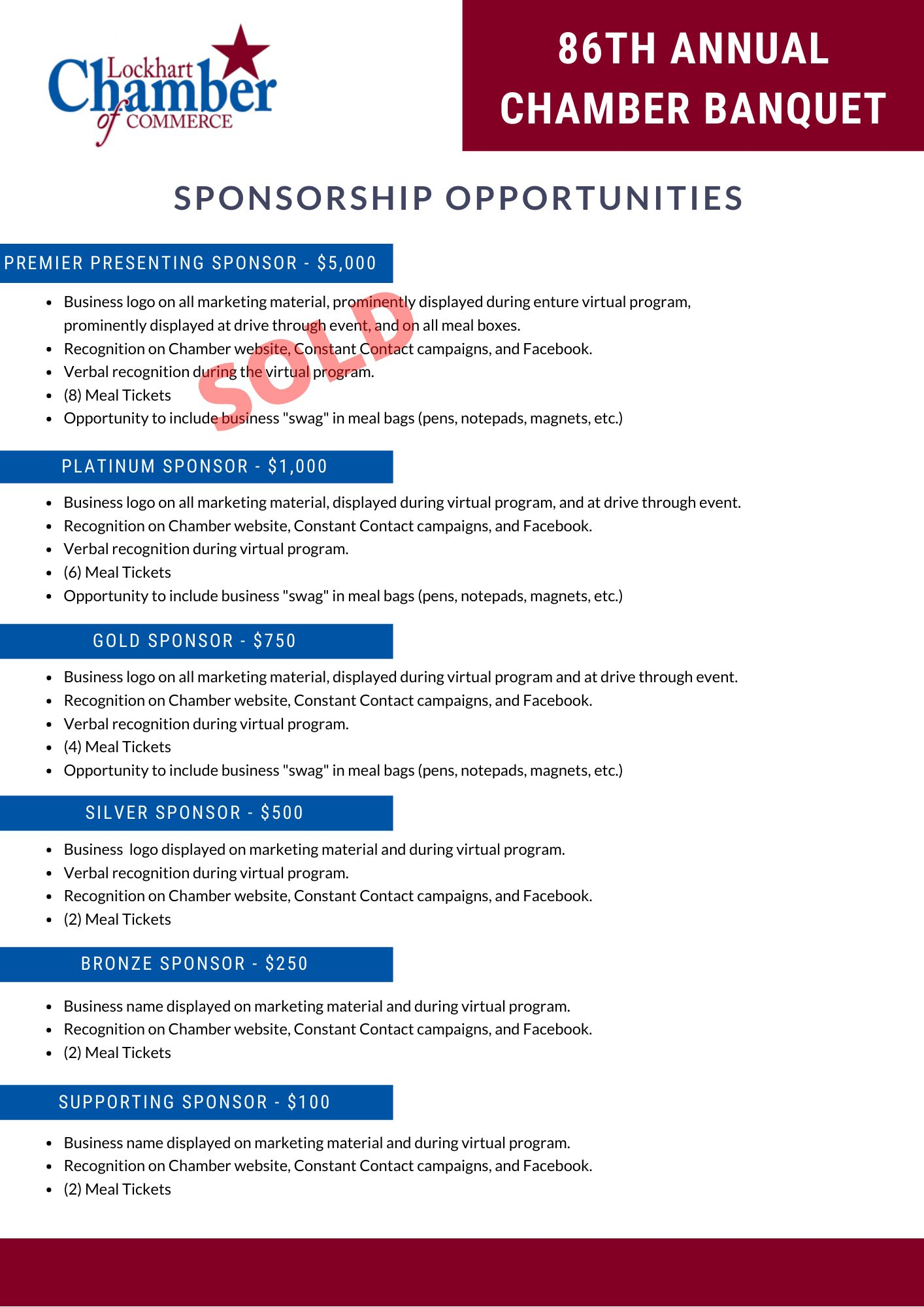 2021 Banquet Sponsorship Opportunities