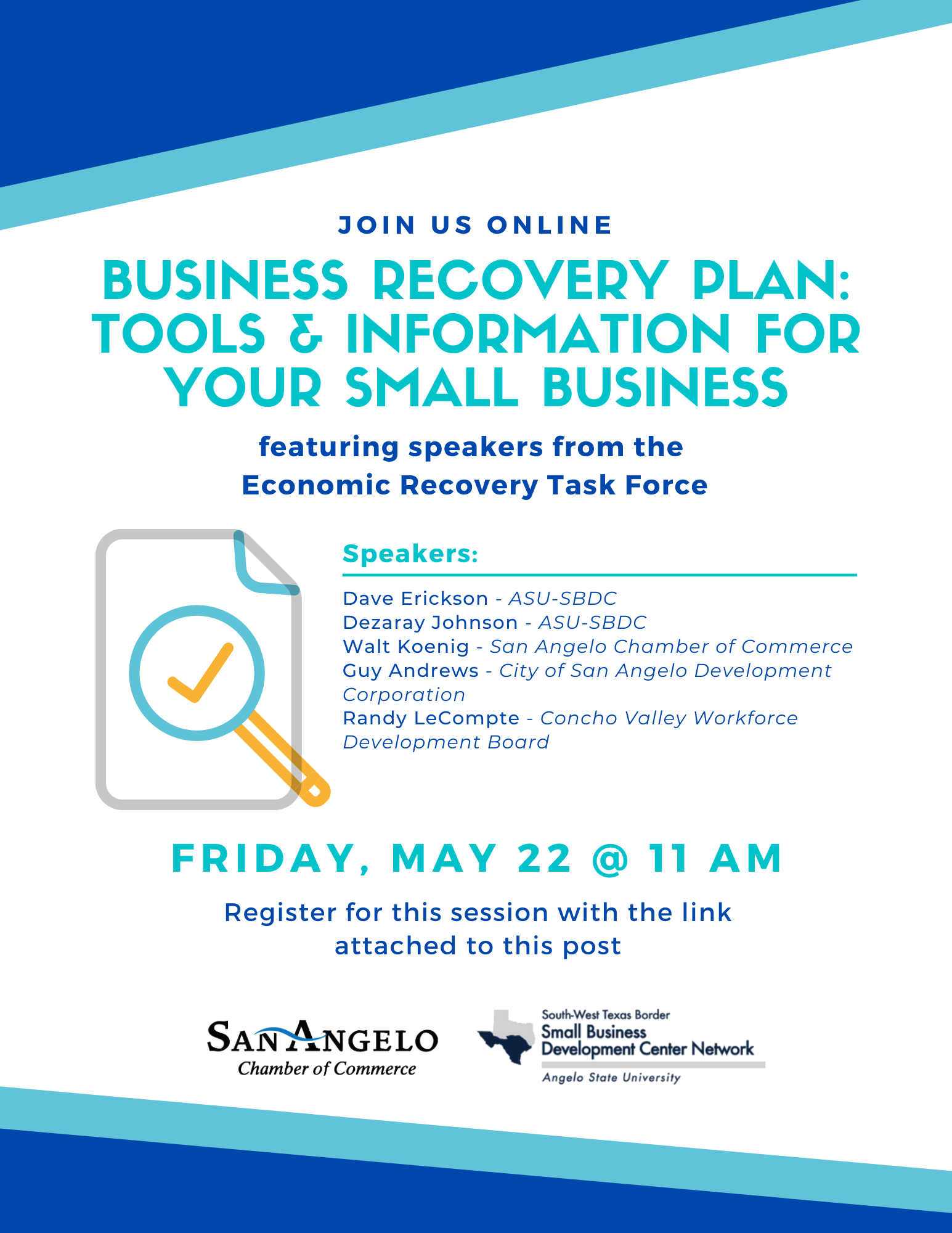 Business Recovery Plan Webinar Flyer with Speakers
