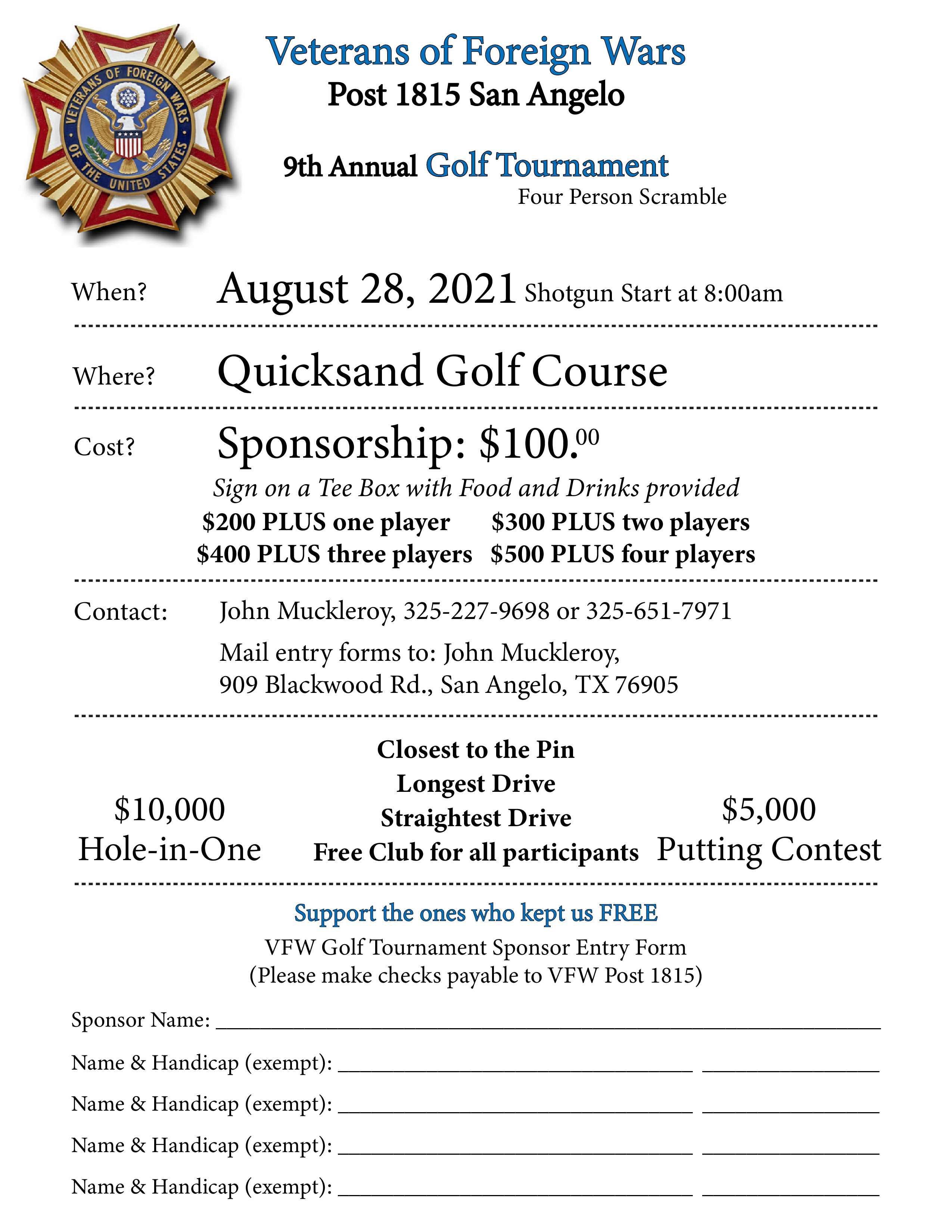 Veterans of Foreign Wars Golf Tournament form-01