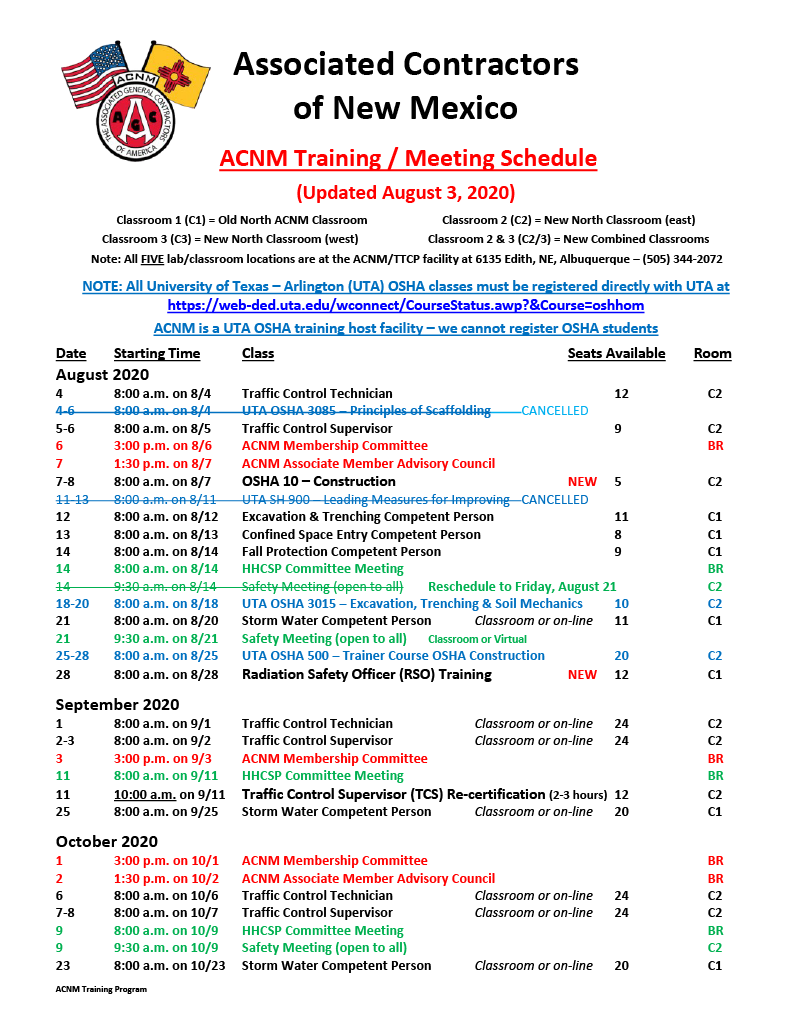 ACNM Training Meeting Schedule - 8-3-201024_1